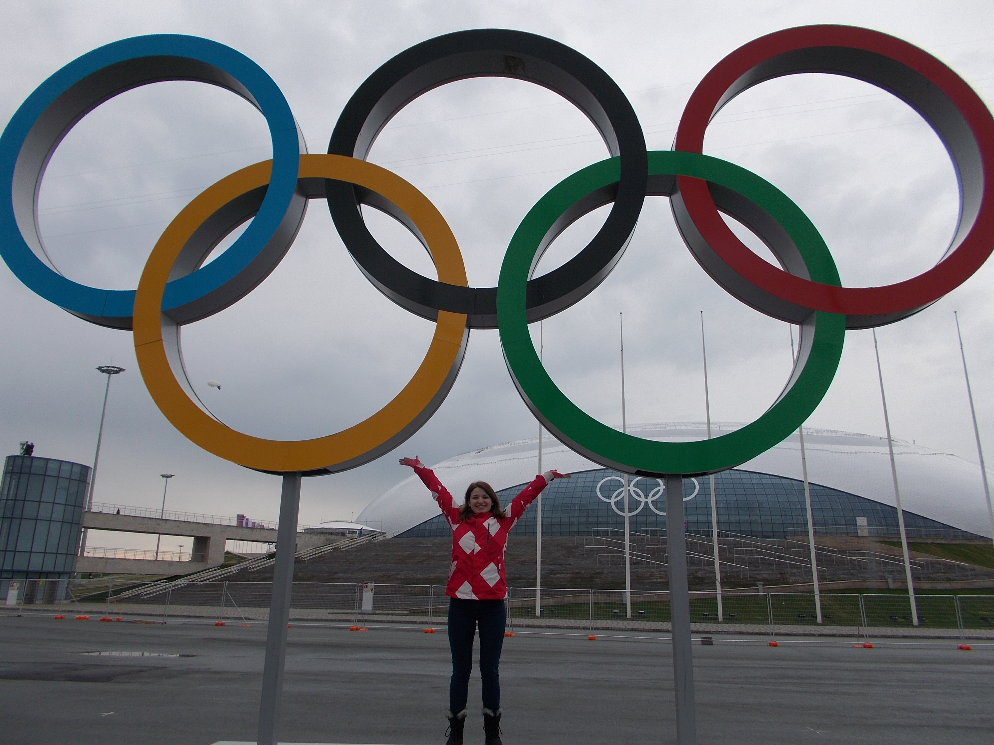 Angi with the Olympic Rings